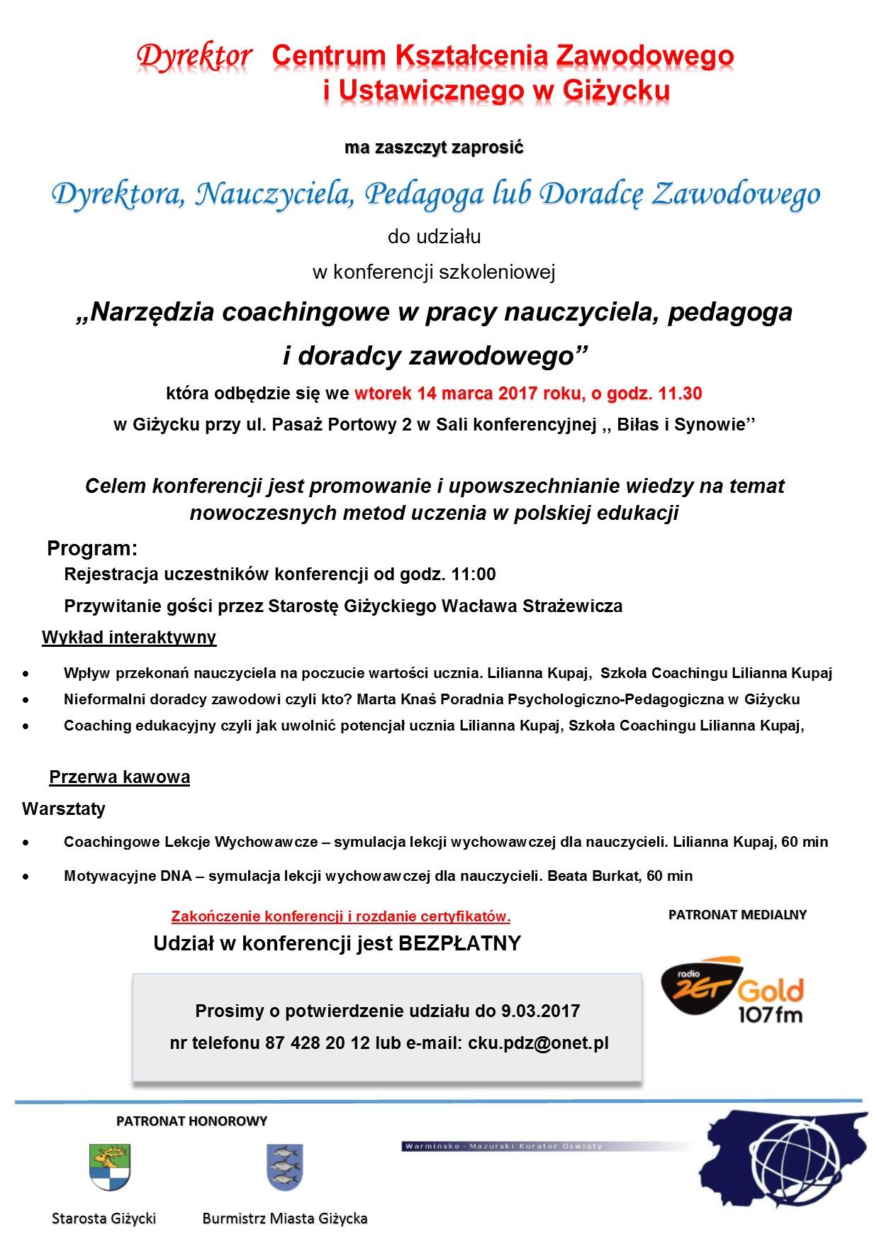 Zaproszenie Na Konferencję Portal Informacyjny Powiatu Giżyckiego