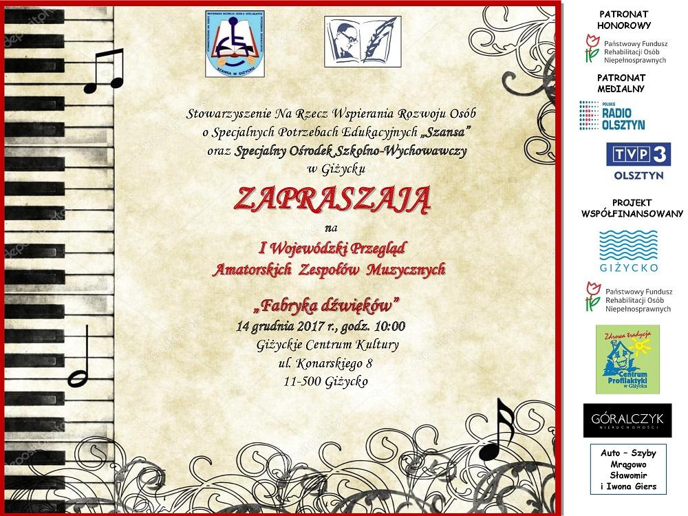 Plakat I Wojewódzki Przegląd Amatorskich Zespołów Muzy-cznych Fabryka dźwięków