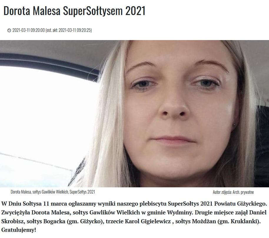 zdjęcie - supersołtys 2021 - Dorota Malesa