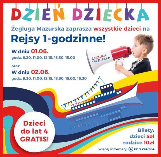 plakat - rejsy Żeglugi Mazurskiej na Dzień Dziecka