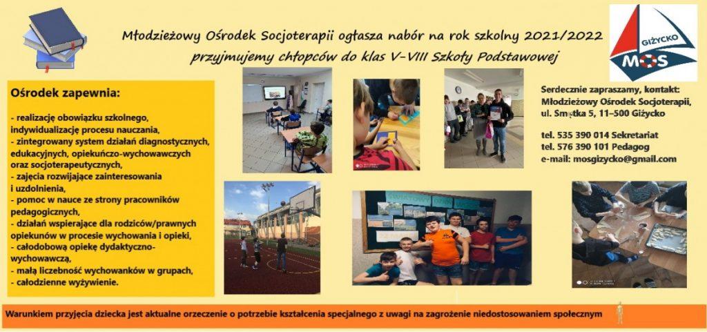 plakat nabór do młodzieżowego ośrodka socjoterapii