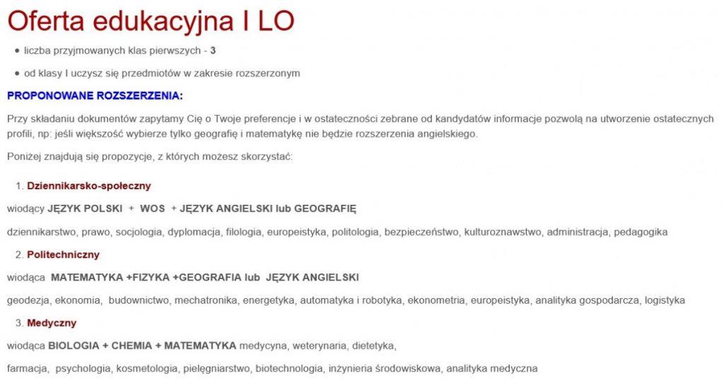 Oferta edukacyjna I LO