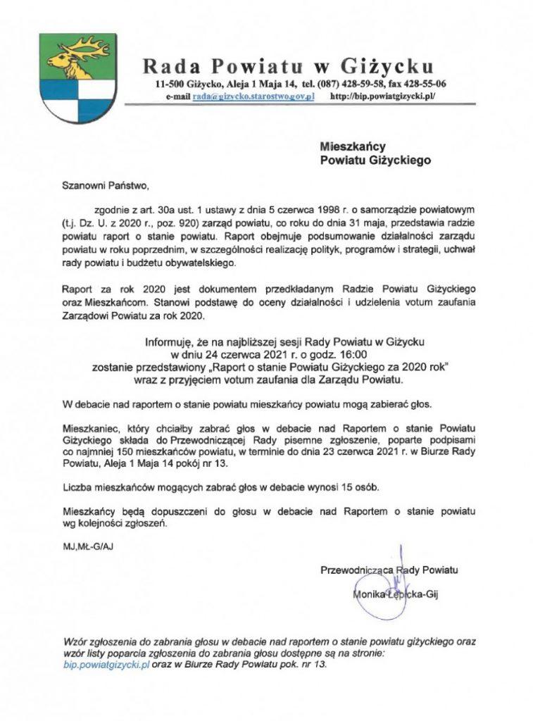 skan pisma dotyczącego raportu o stanie powiatu giżyckiego za rok 2020