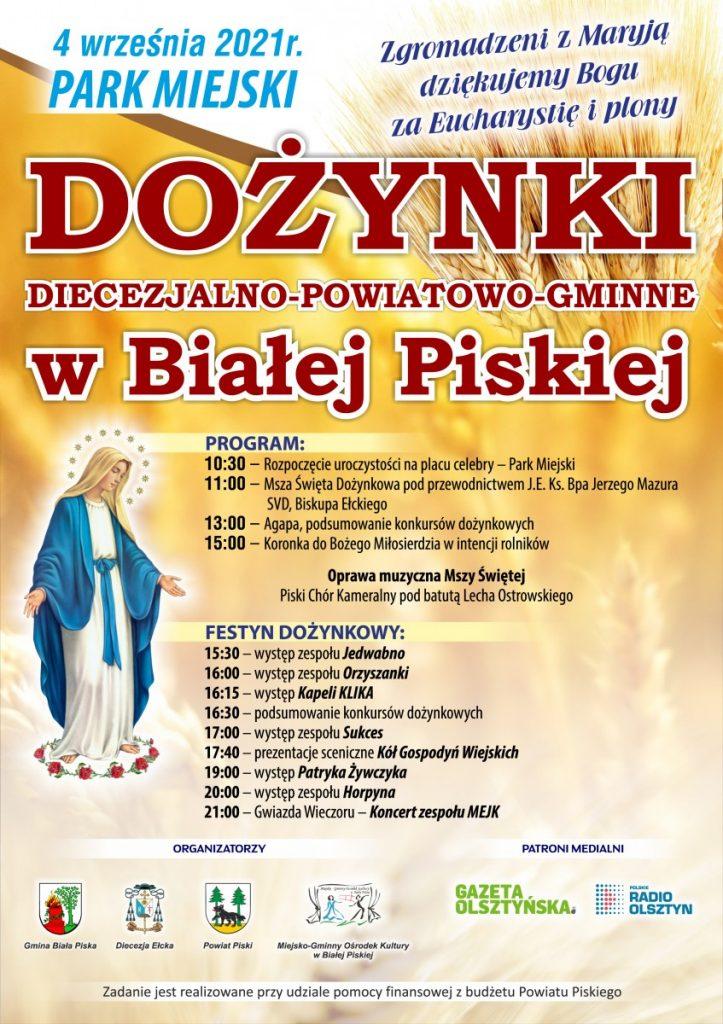 plakat dożynek diecezjalnych w białej piskiej
