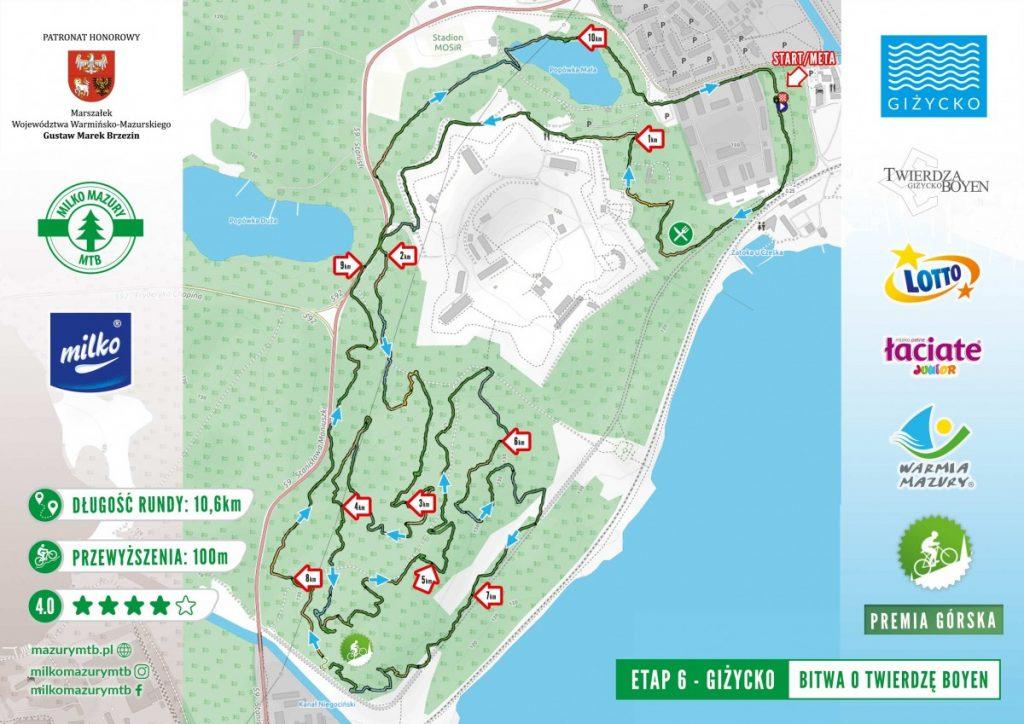 mapa wyścigu milko mazury mtb w giżycku